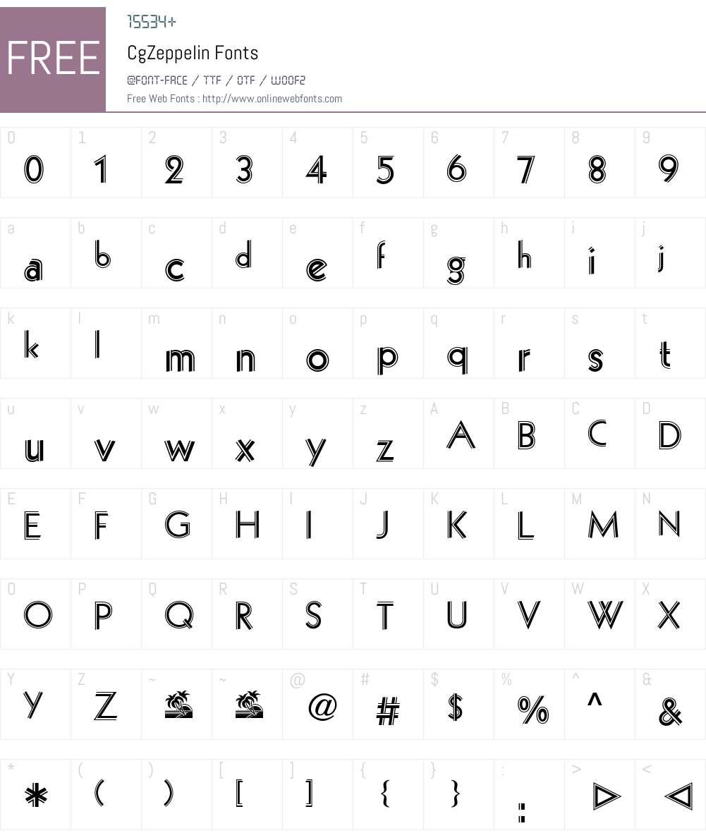 CgZeppelin Font Screenshots