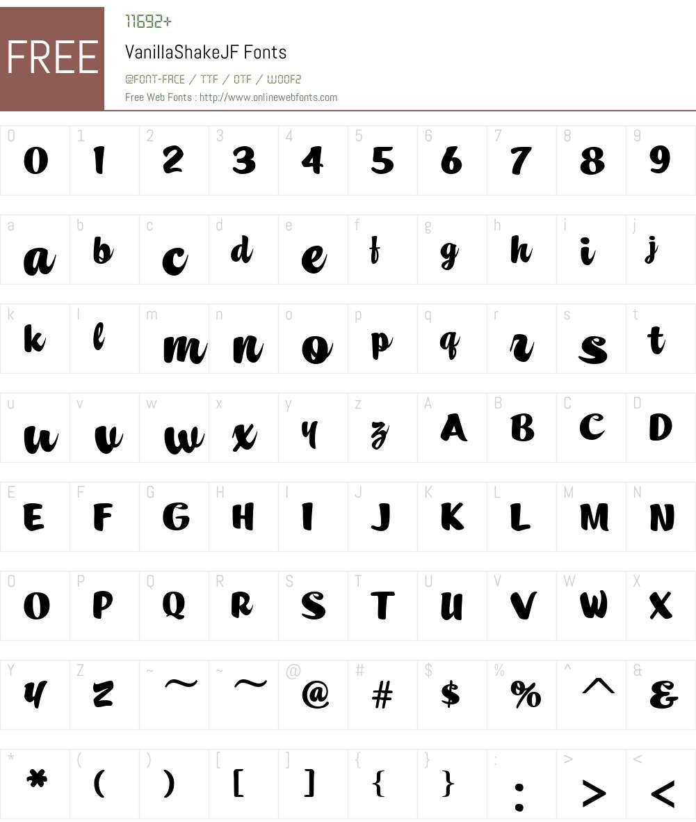 VanillaShakeJF Font Screenshots