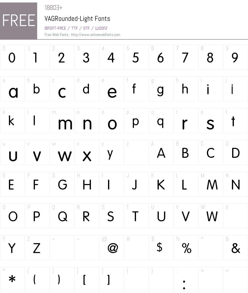 VAGRounded-Light Font Screenshots