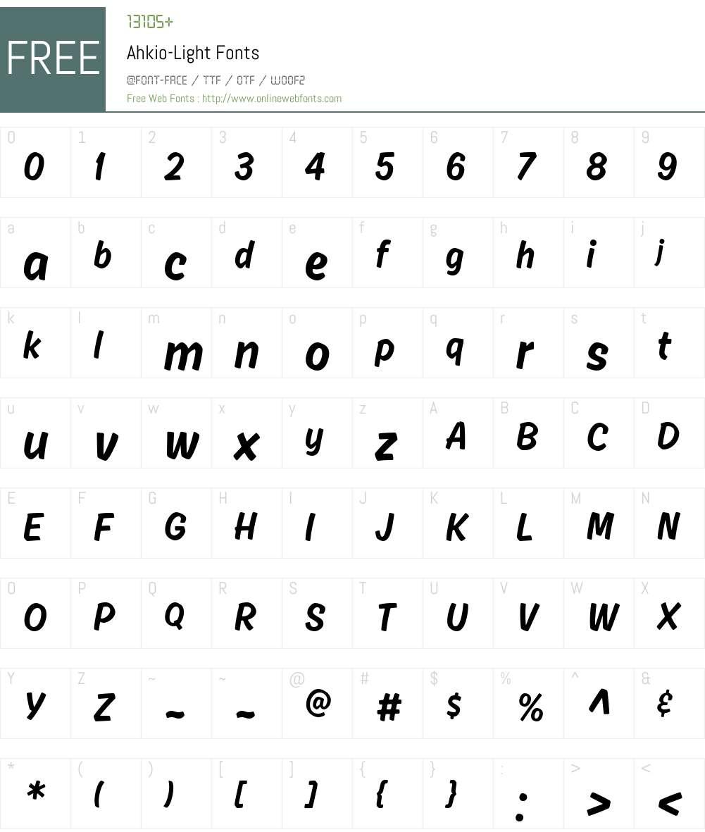 Ahkio-Light Font Screenshots