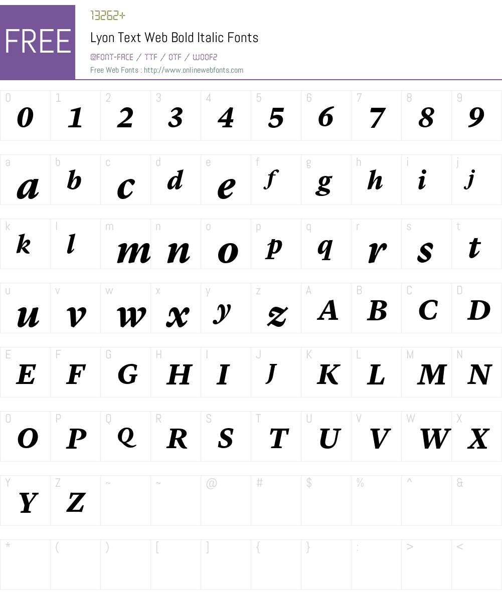 Lyon Text Web Bold Font Screenshots
