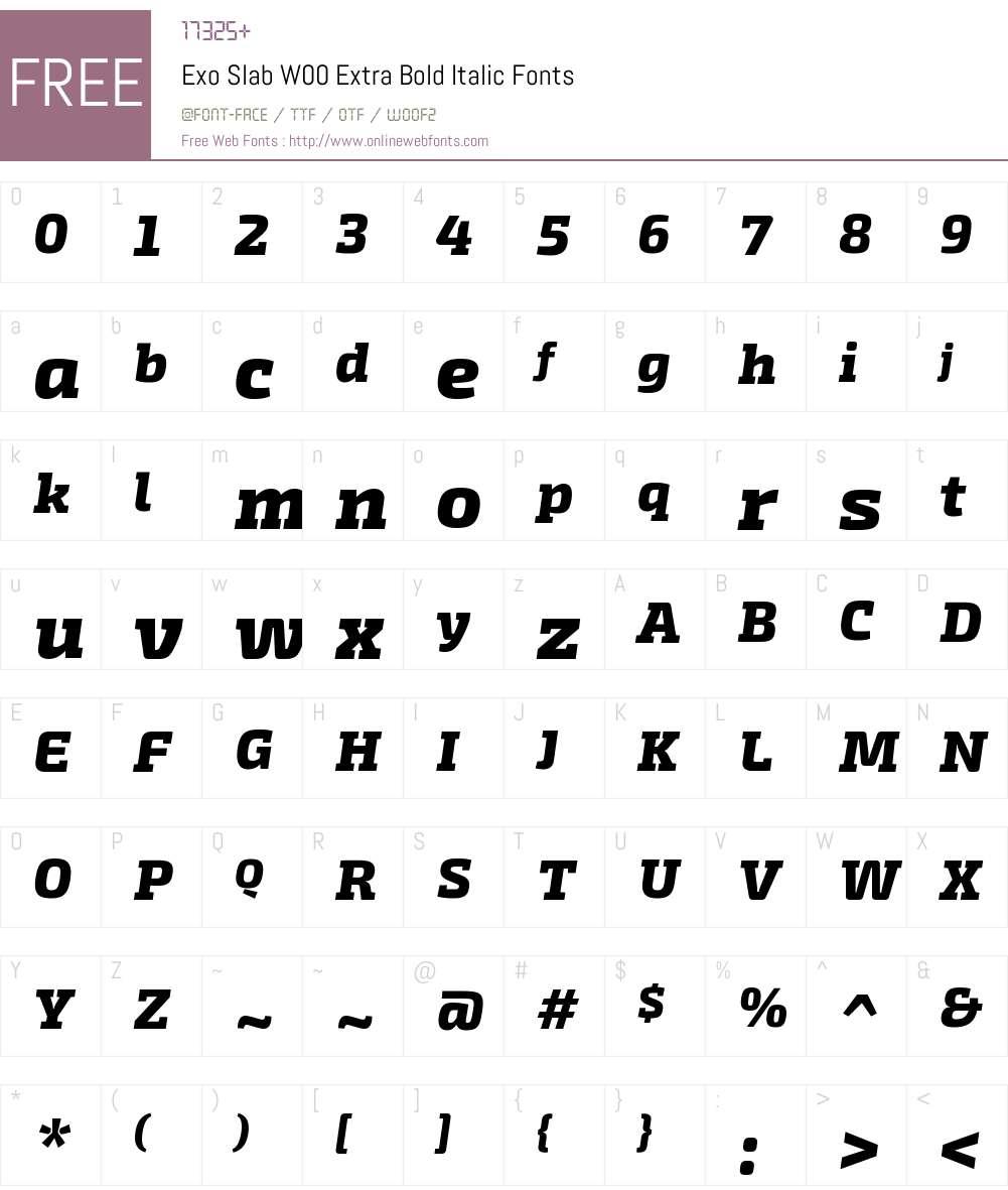 ExoSlabW00-ExtraBoldItalic Font Screenshots