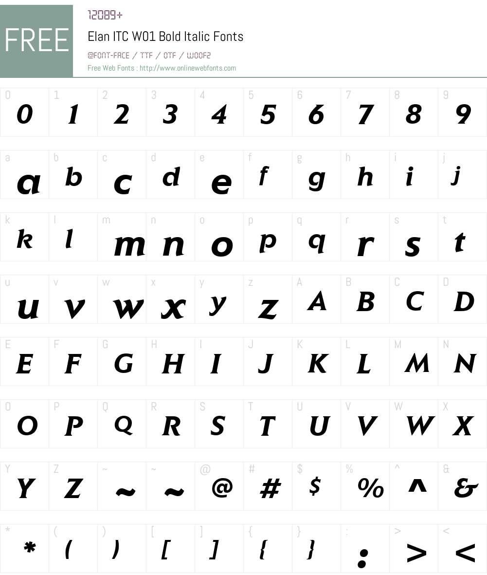 ElanITCW01-BoldItalic Font Screenshots