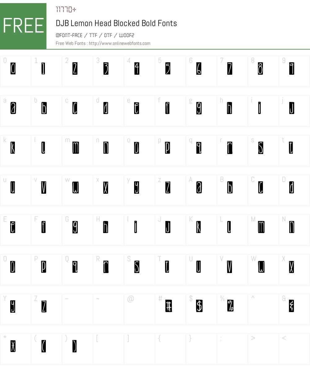 DJB Lemon Head Blocked Font Screenshots