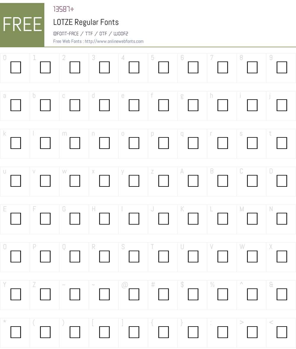 LOTZE Font Screenshots