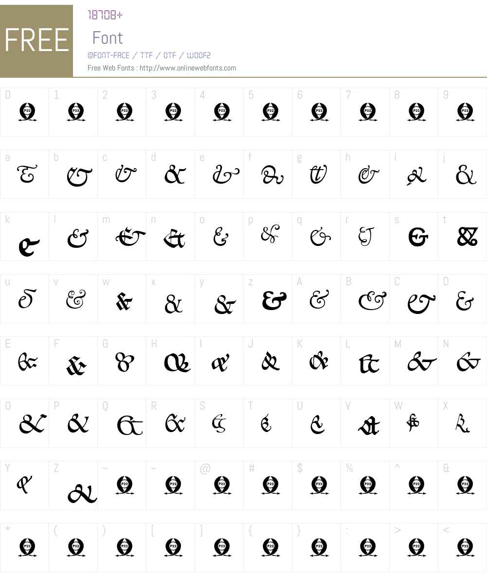 P22GoudyW95-Ampersands Font Screenshots