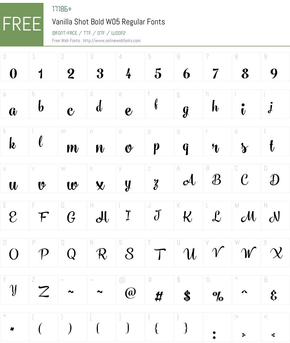 VanillaShotBoldW05-Regular Font Screenshots