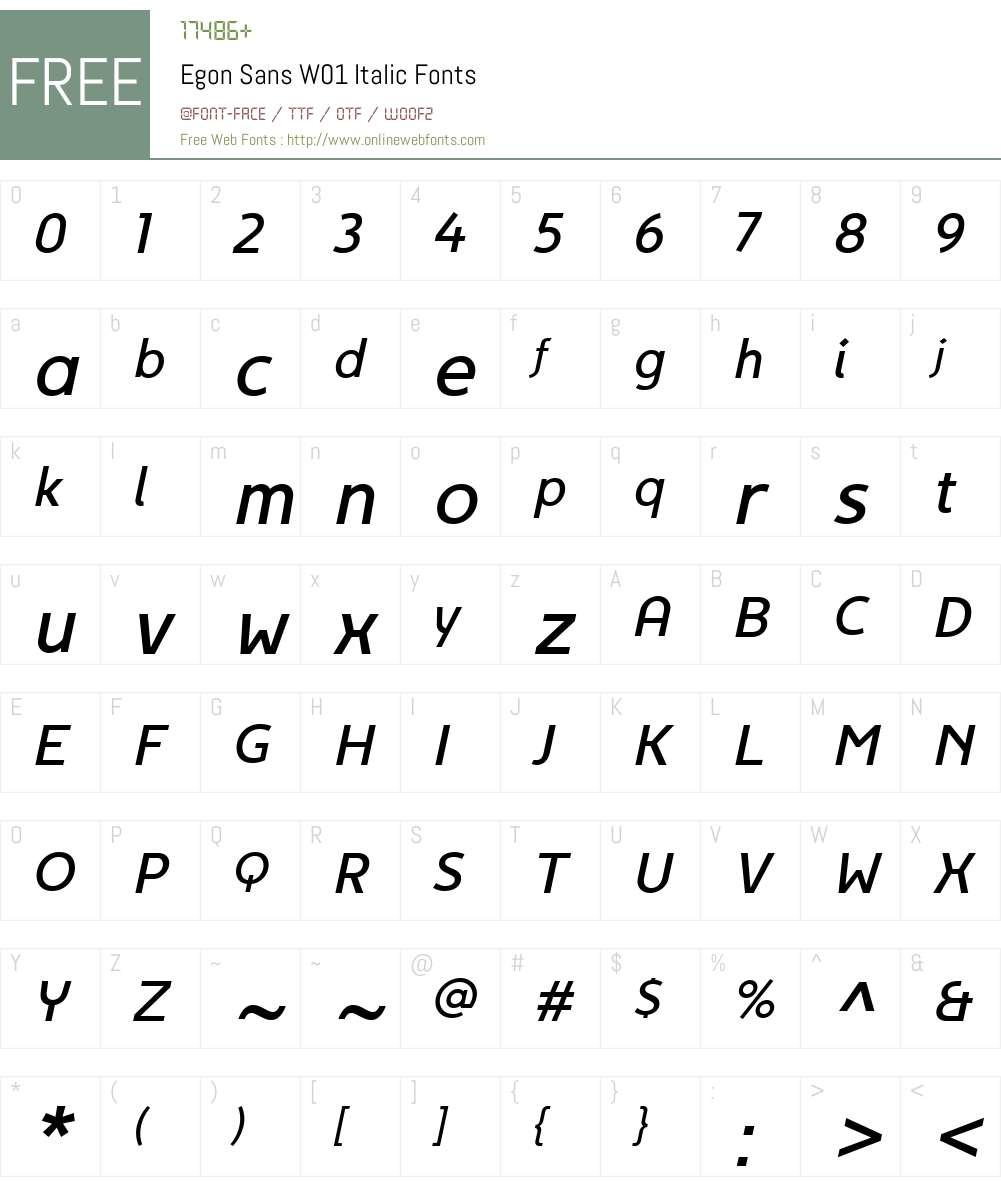 EgonSansW01-Italic Font Screenshots