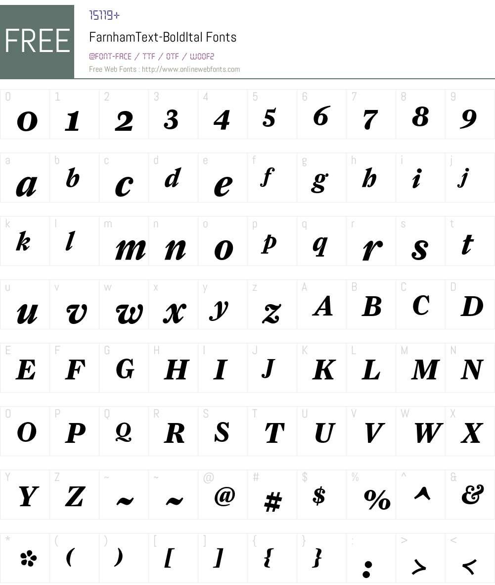 FarnhamText-BoldItal Font Screenshots
