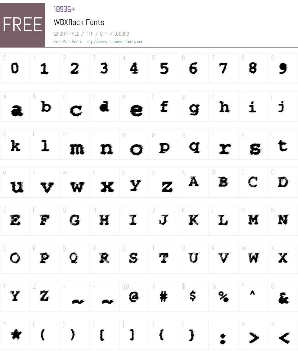 WBXflack Font Screenshots