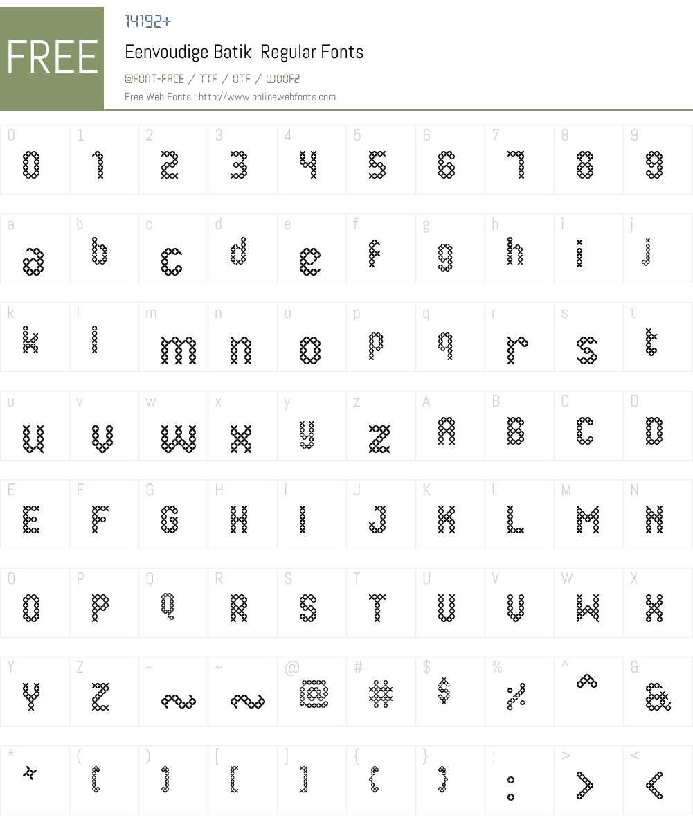 Eenvoudige Batik Font Screenshots
