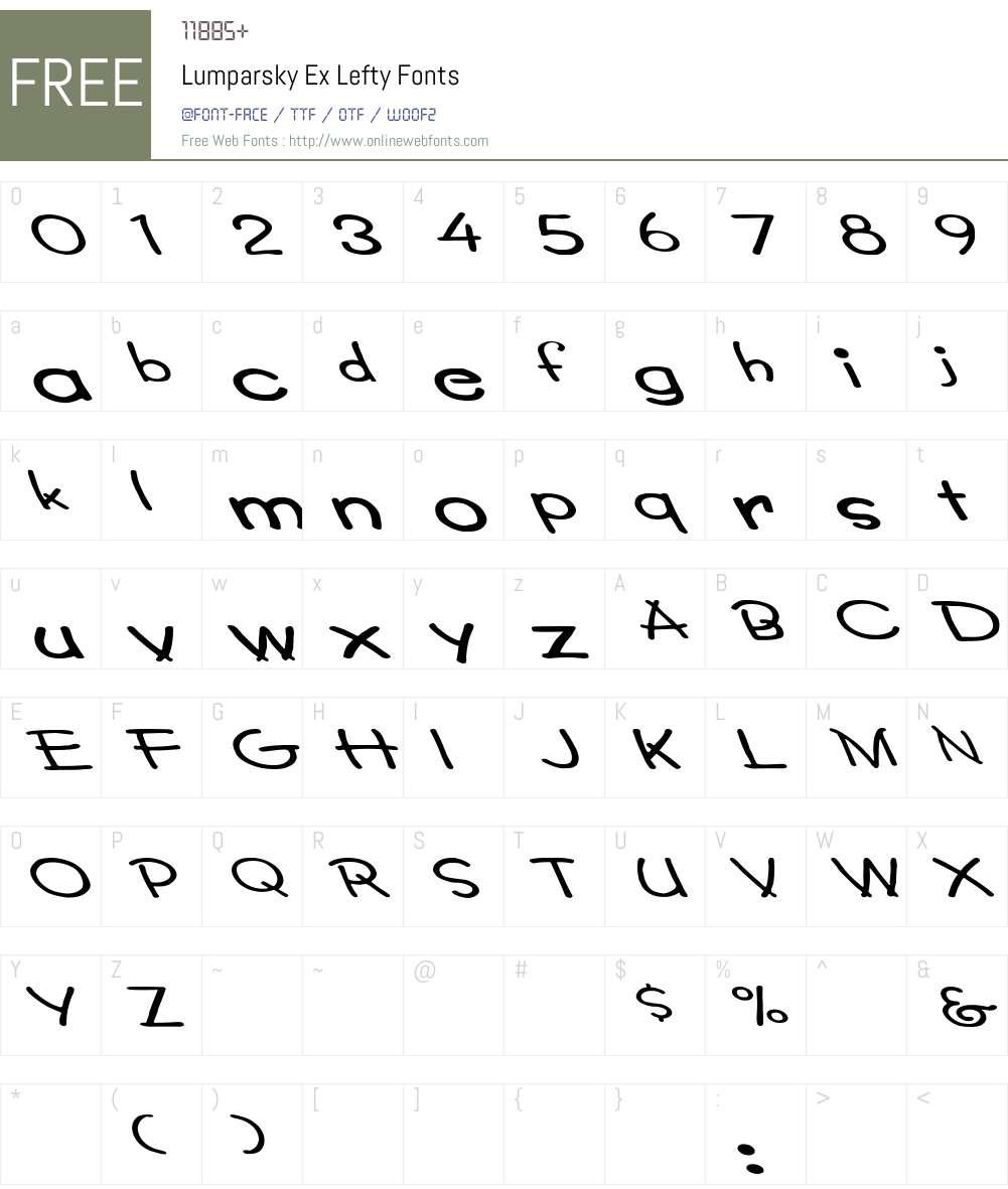 Lumparsky Ex Lefty Font Screenshots