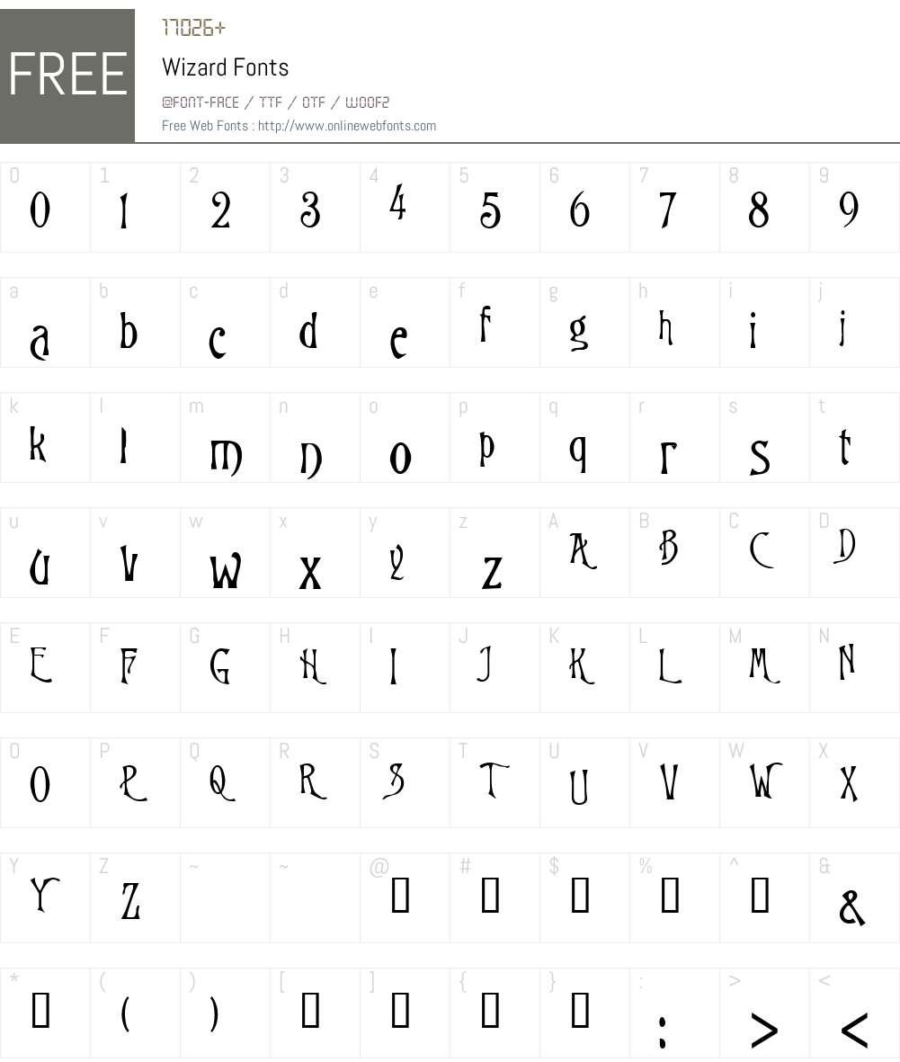 Wizard Font Screenshots