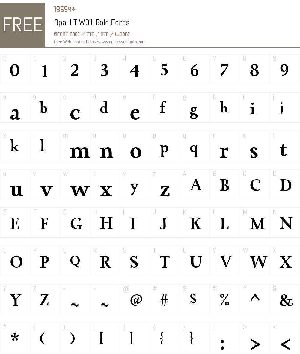 OpalLTW01-Bold Font Screenshots