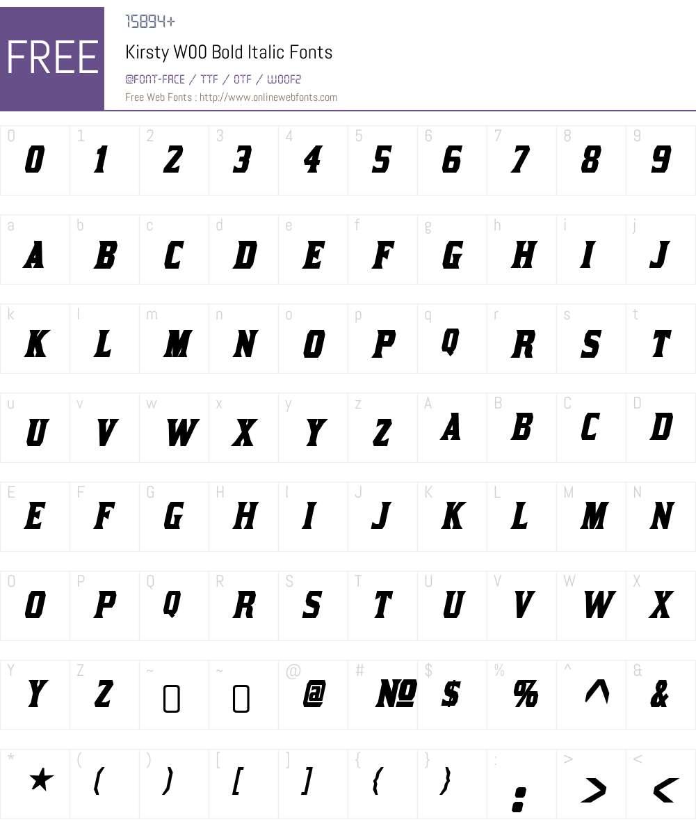 KirstyW00-BoldItalic Font Screenshots