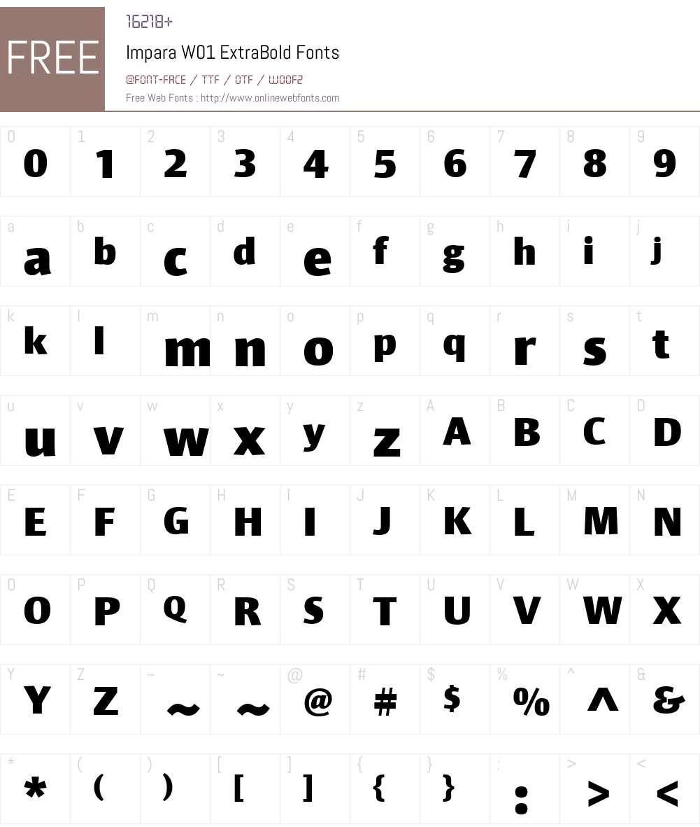 ImparaW01-ExtraBold Font Screenshots