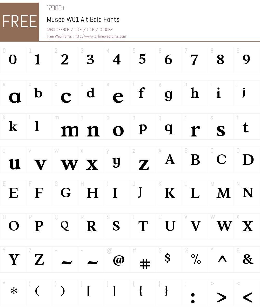 MuseeW01-AltBold Font Screenshots