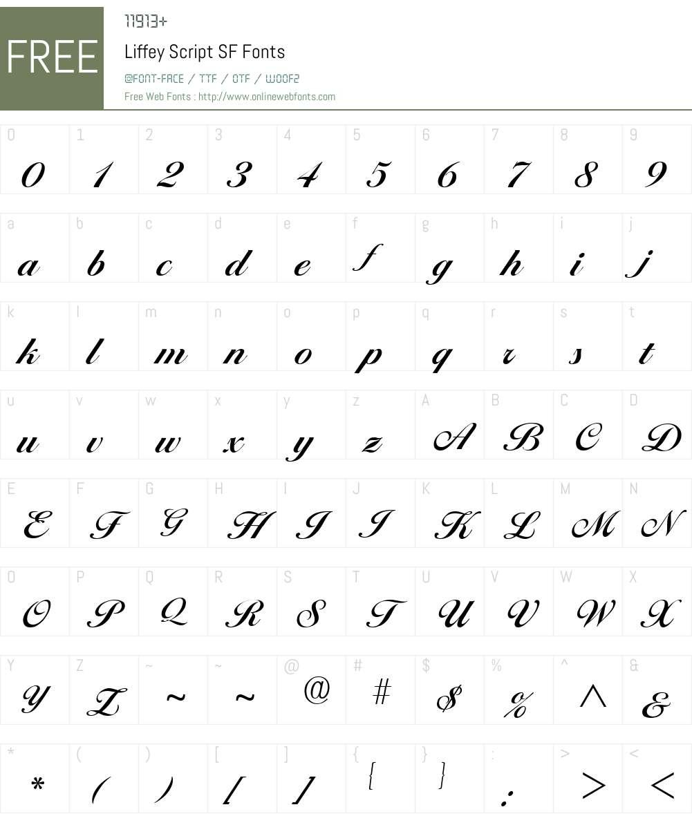 Liffey Script SF Font Screenshots