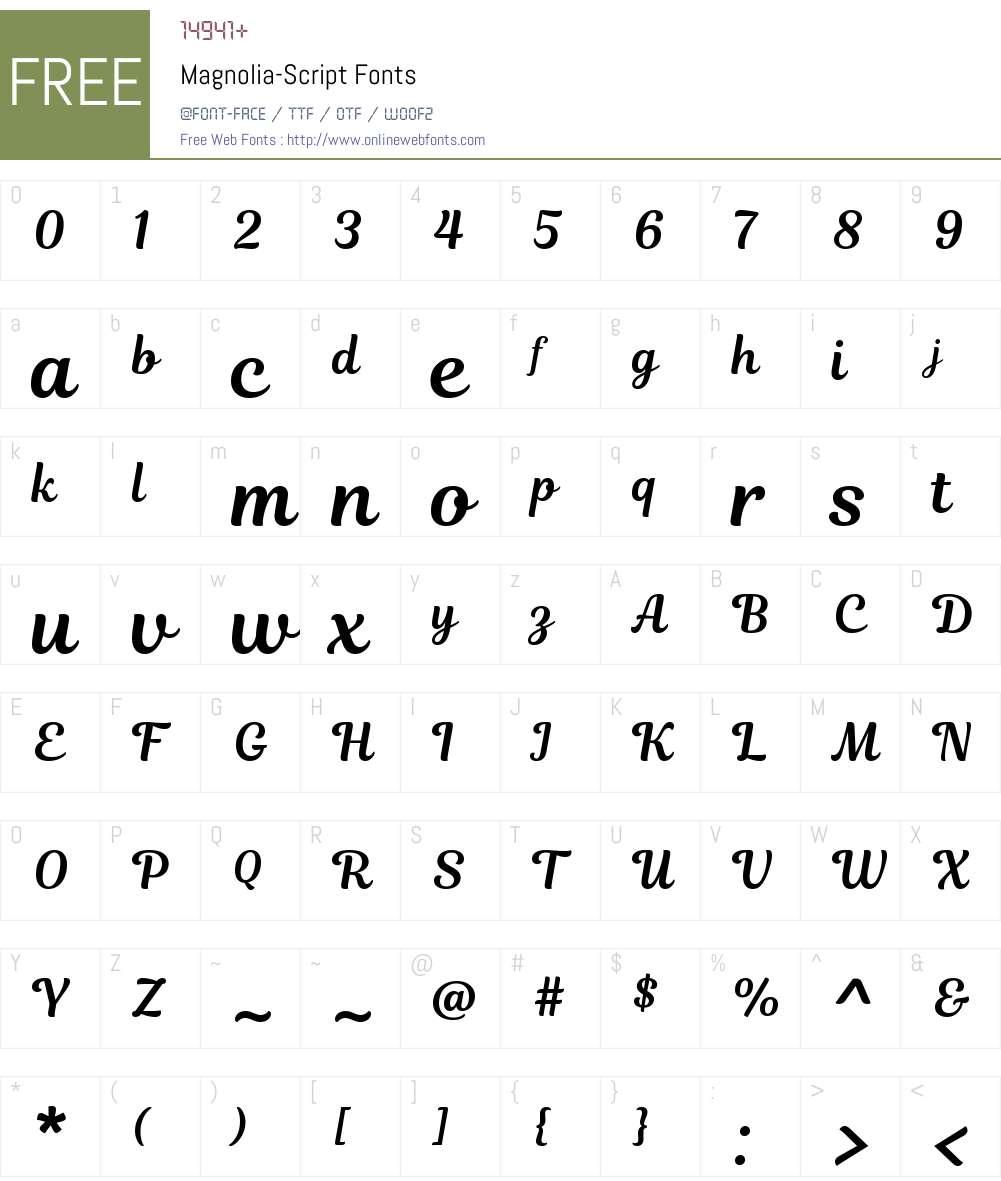 Magnolia Script Font Screenshots