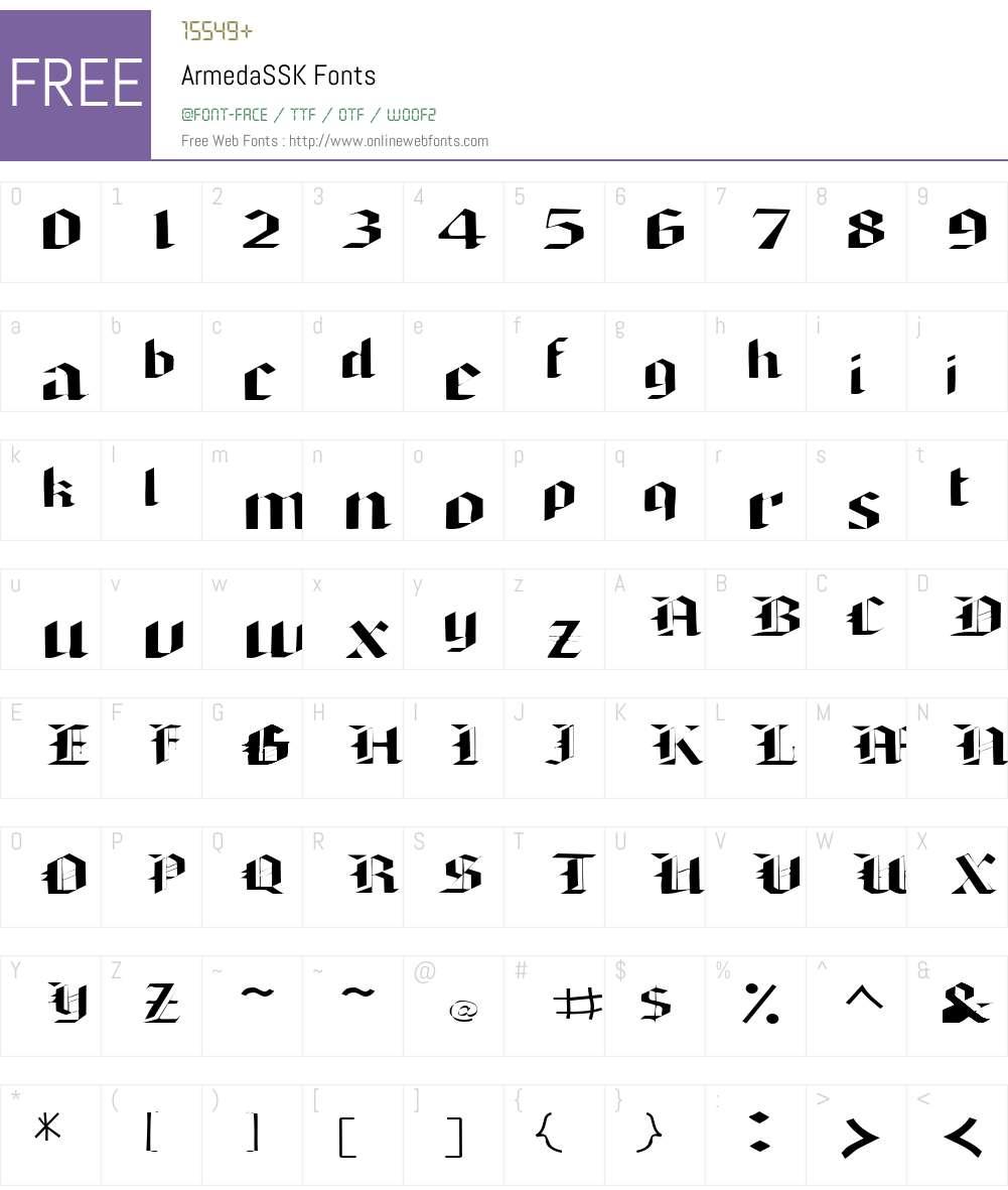ArmedaSSK Font Screenshots