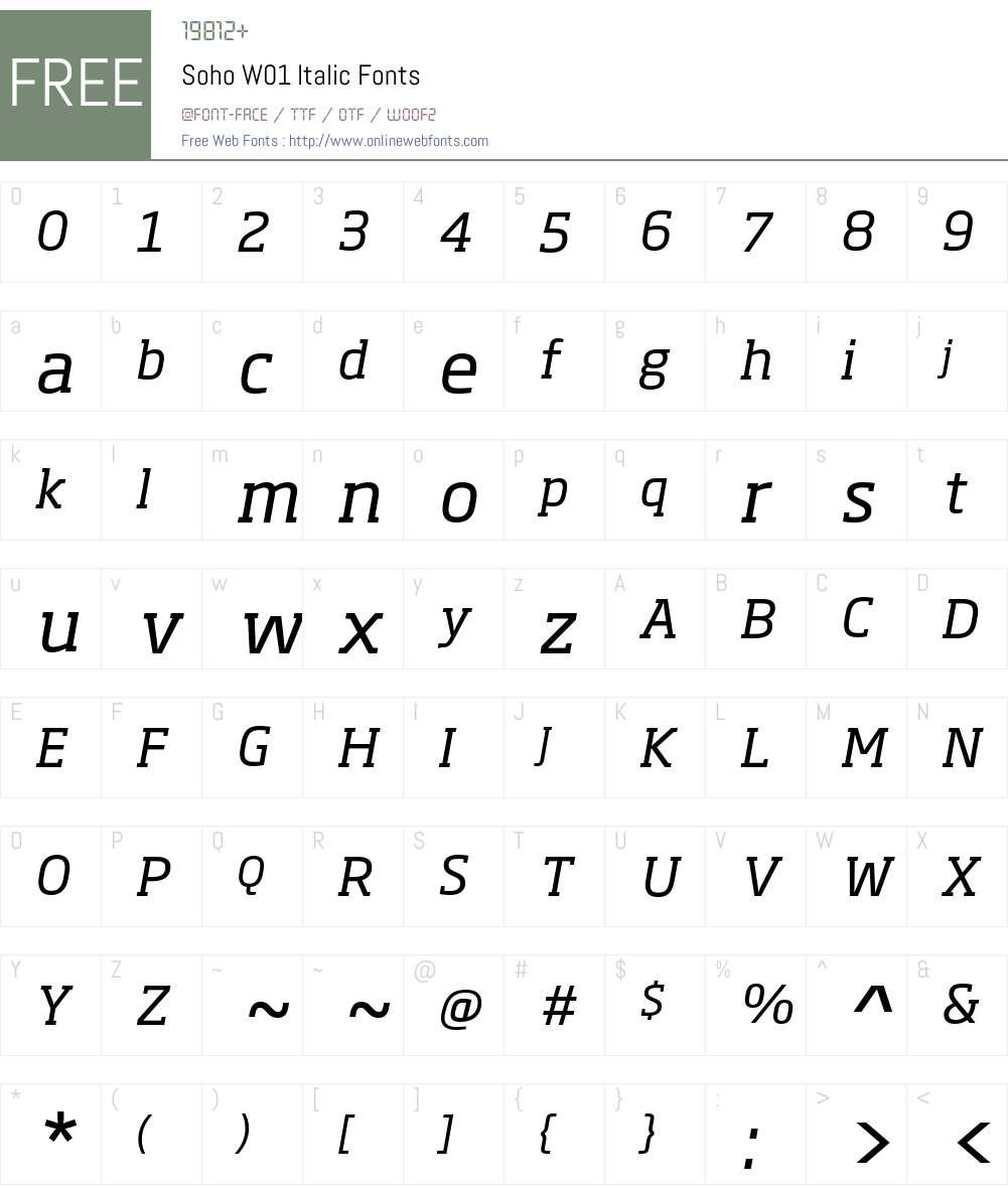 SohoW01-Italic Font Screenshots
