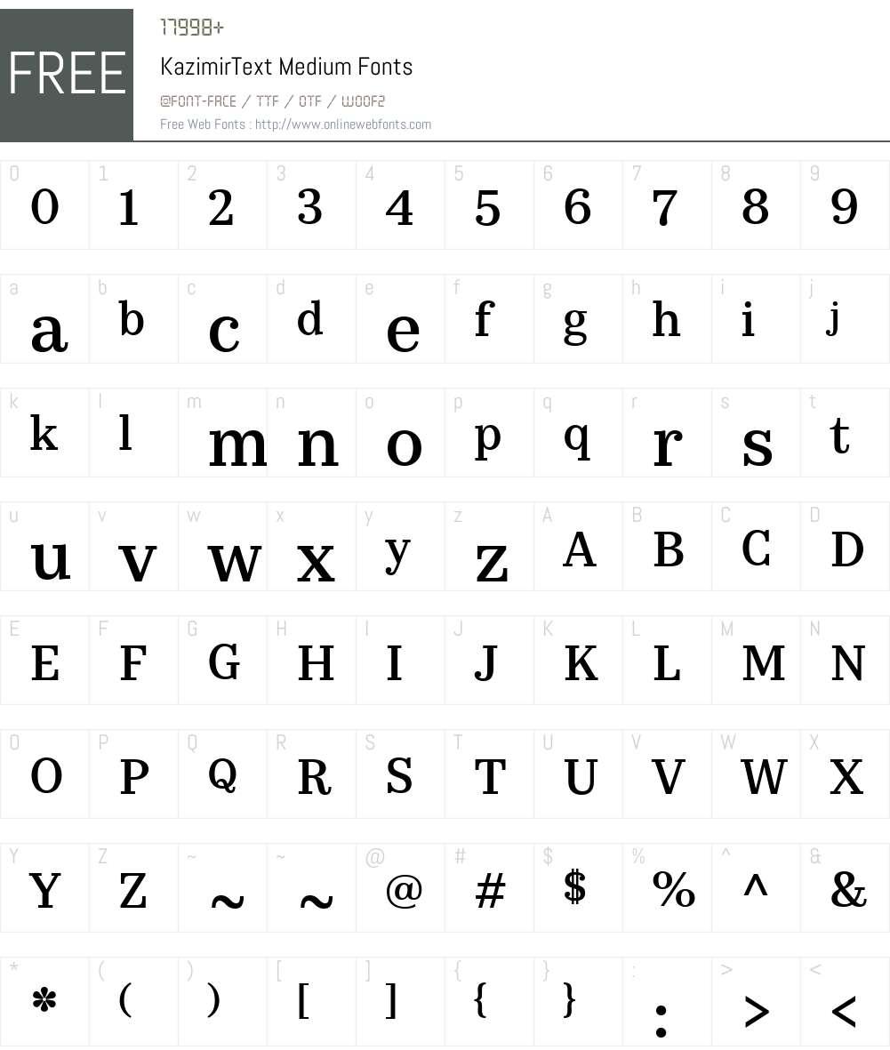 KazimirText-Medium Font Screenshots
