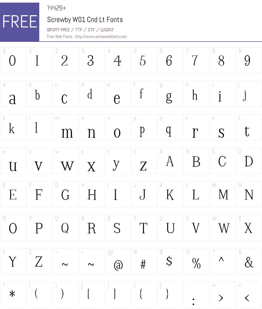 ScrewbyW01-CndLt Font Screenshots