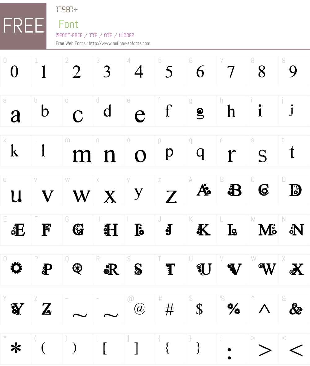 Steampunk font by *hannarb Font Screenshots