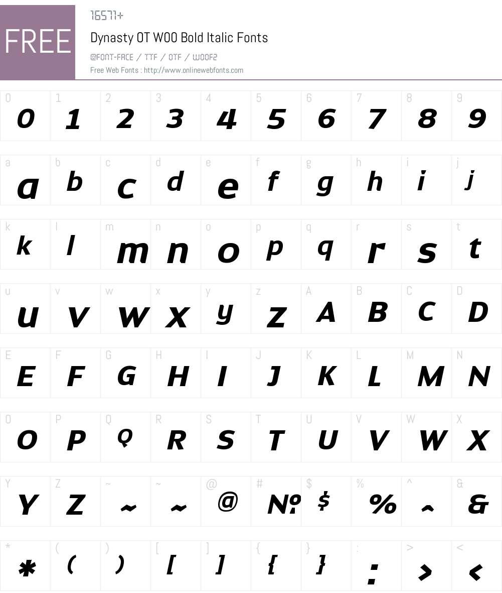 DynastyOTW00-BoldItalic Font Screenshots