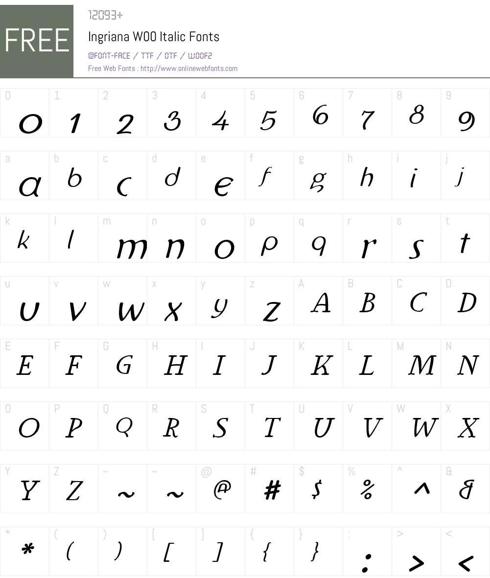 IngrianaW00-Italic Font Screenshots