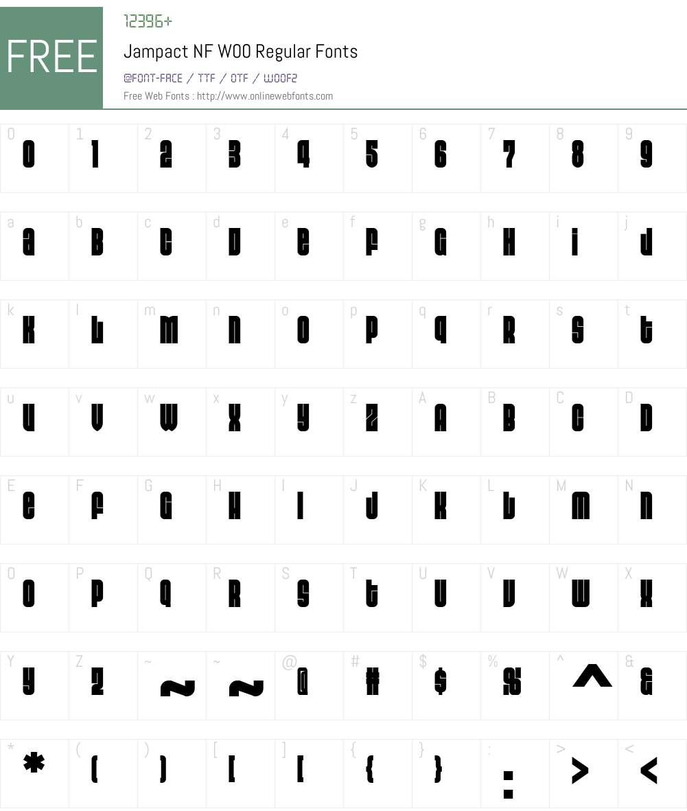 JampactNFW00-Regular Font Screenshots