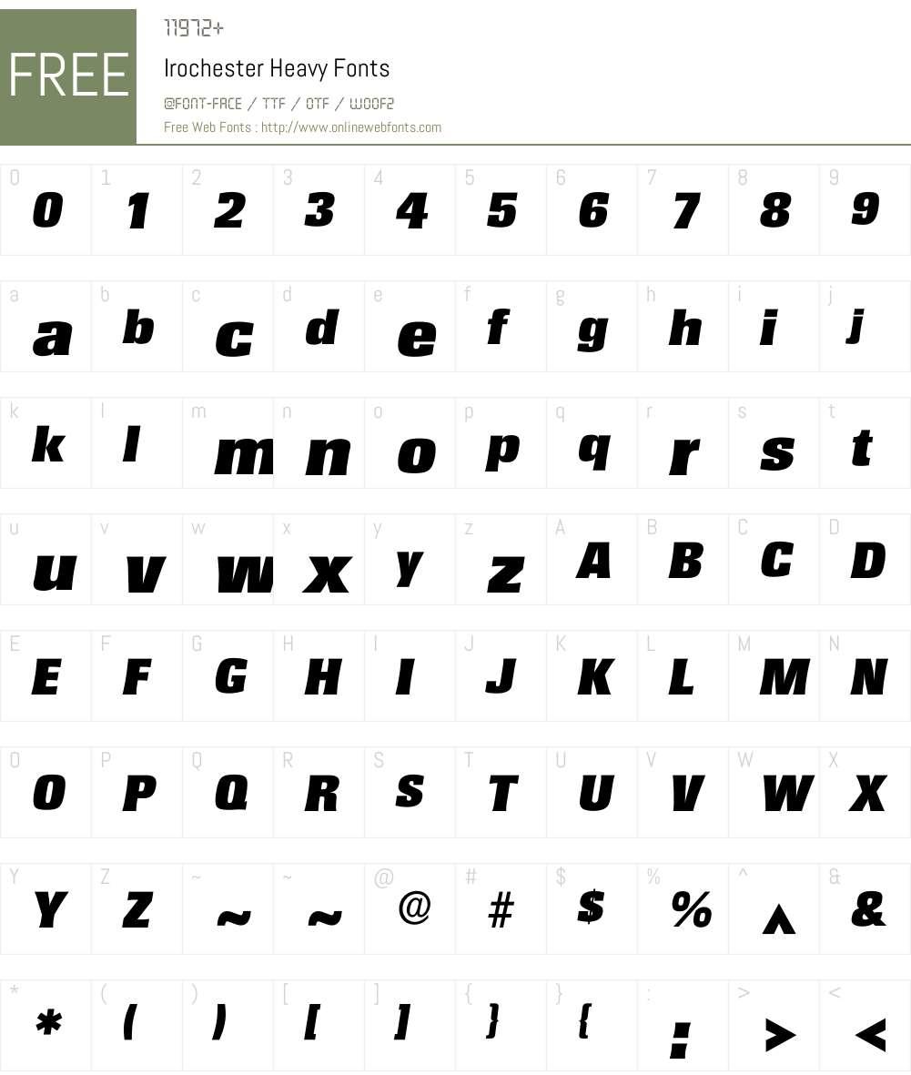 Irochester Font Screenshots