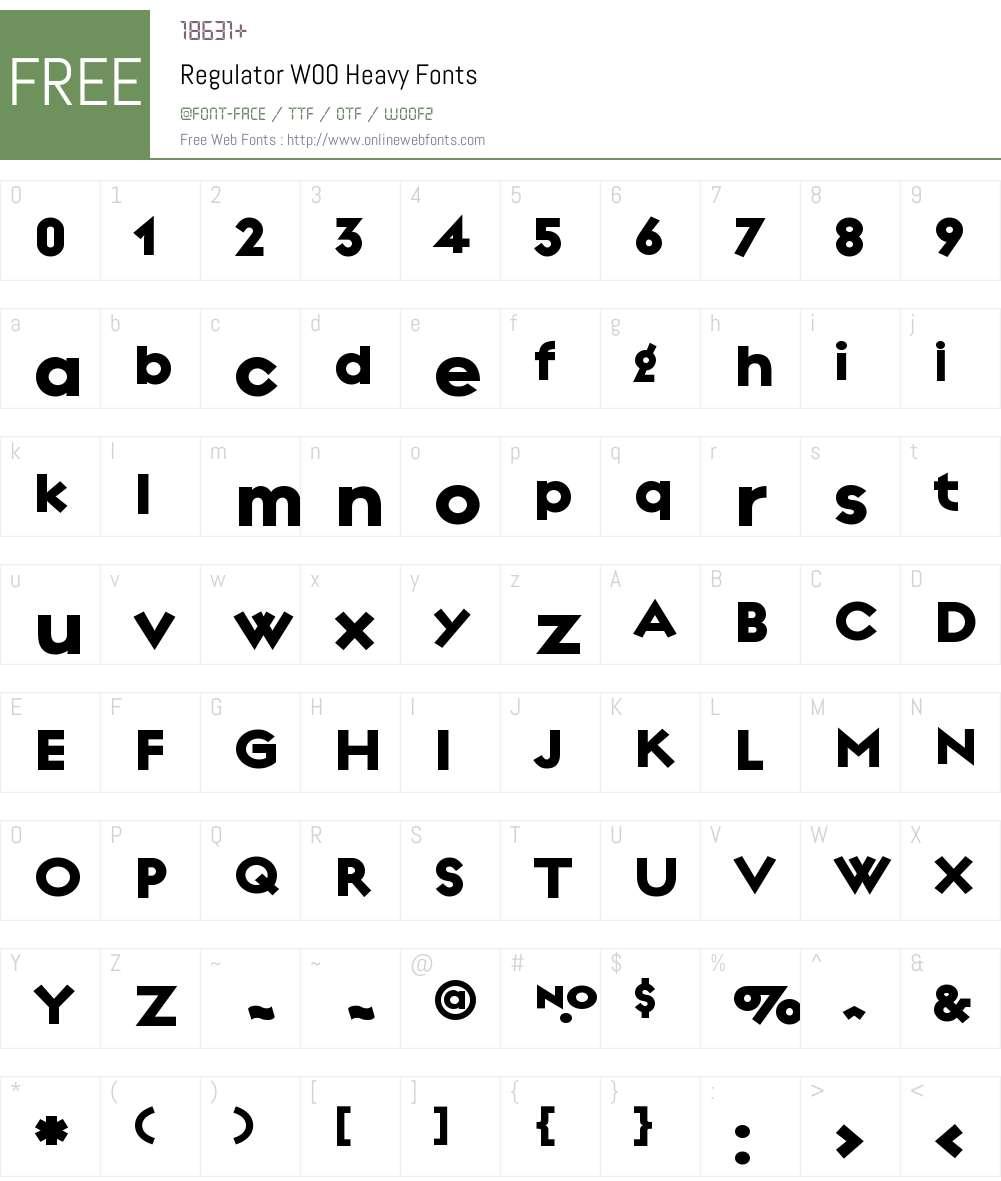 RegulatorW00-Heavy Font Screenshots