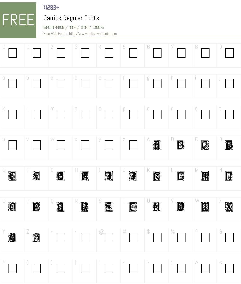 Carrick Font Screenshots