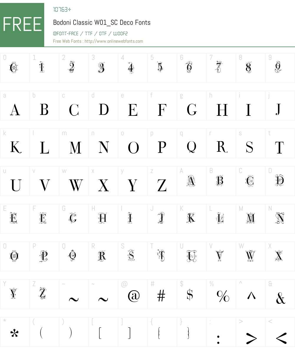 BodoniClassicW01_SC-Deco Font Screenshots