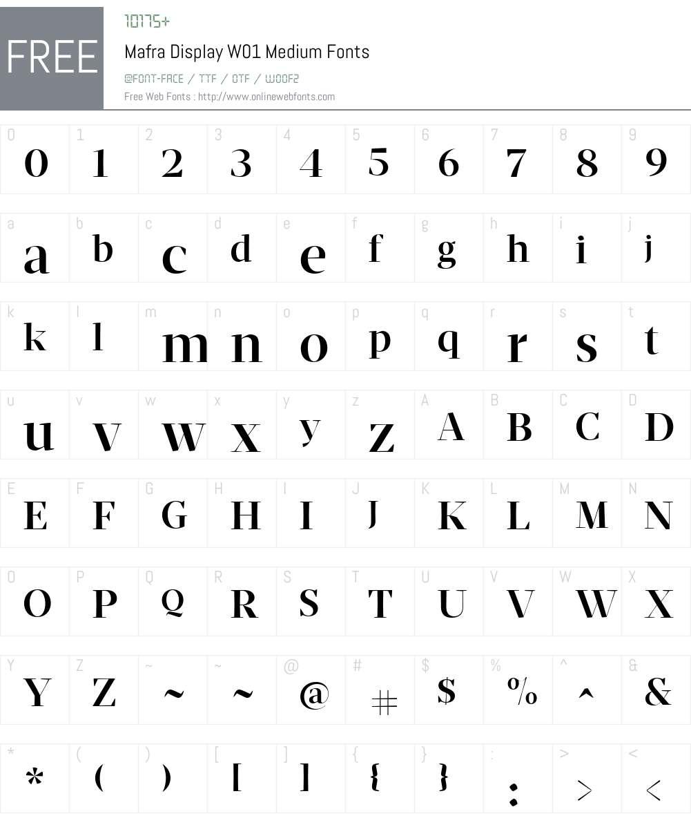 MafraDisplayW01-Medium Font Screenshots