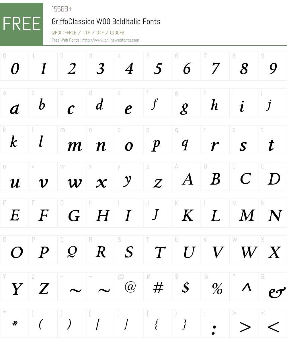 GriffoClassicoW00-BoldItalic Font Screenshots