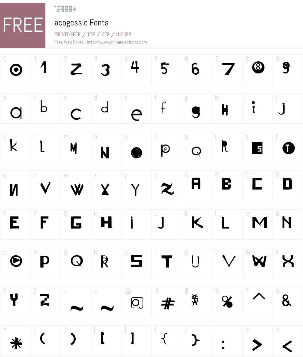 acogessic Font Screenshots