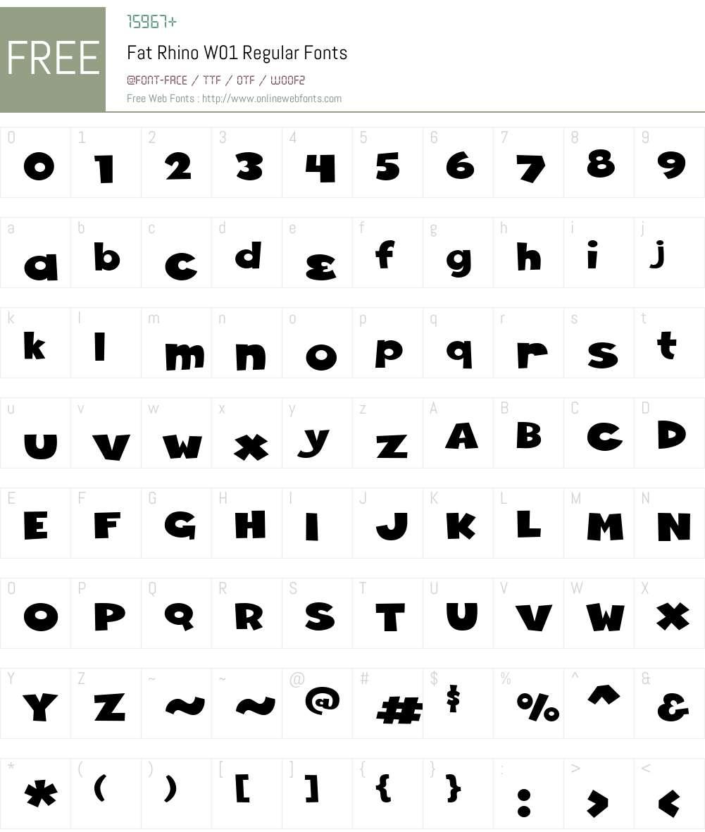 FatRhinoW01-Regular Font Screenshots