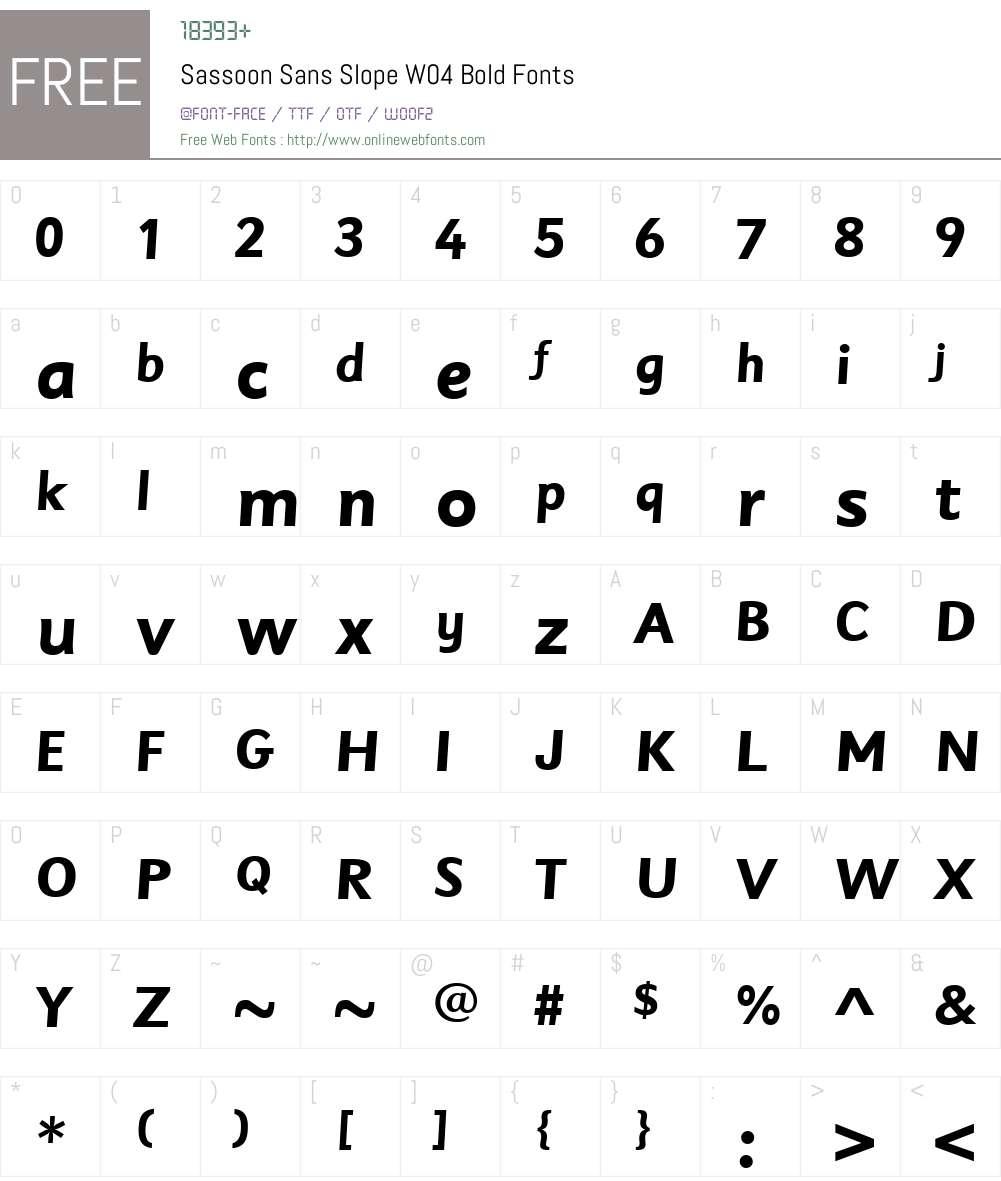 SassoonSansSlopeW04-Bold Font Screenshots
