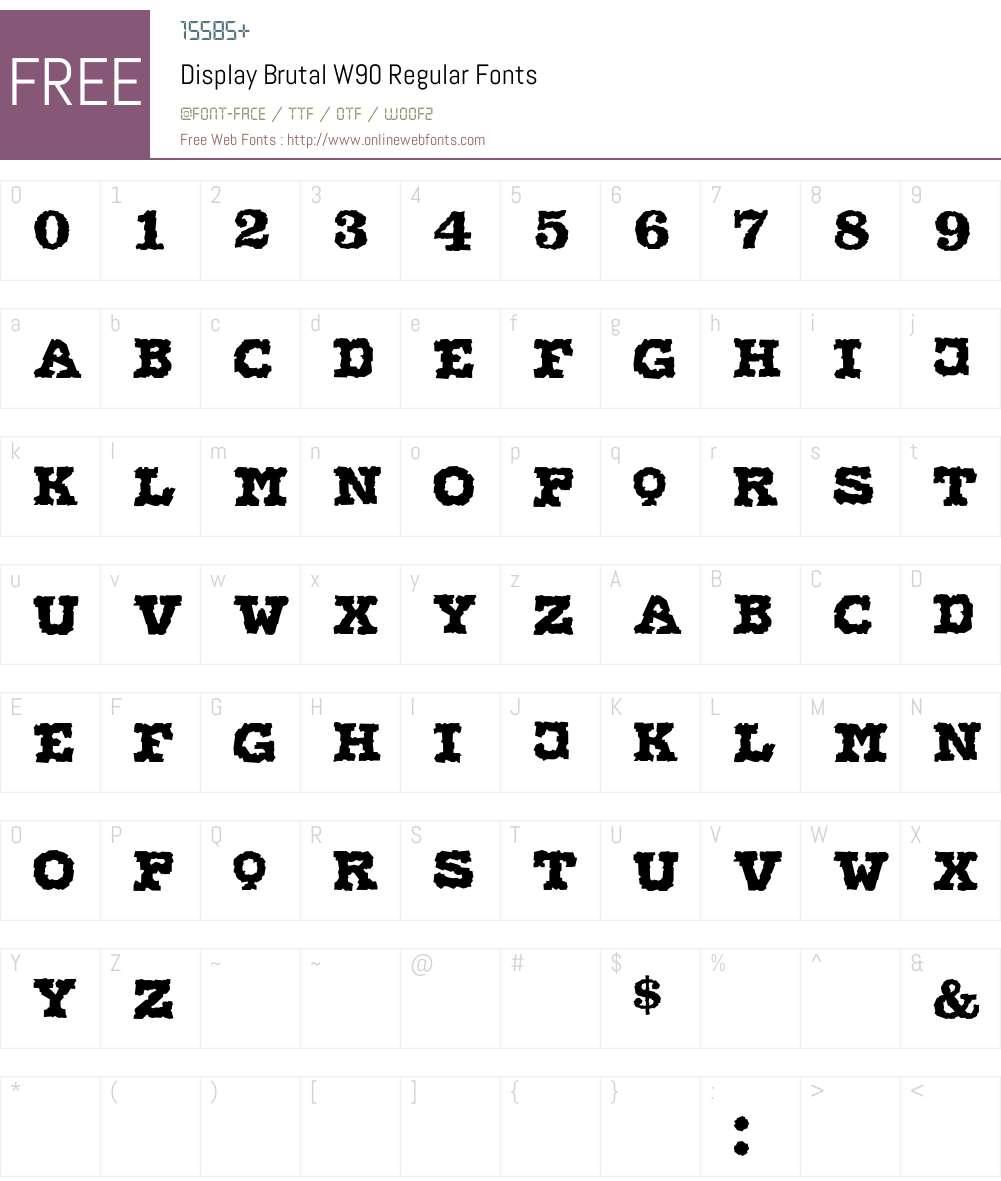 DisplayBrutalW90-Regular Font Screenshots