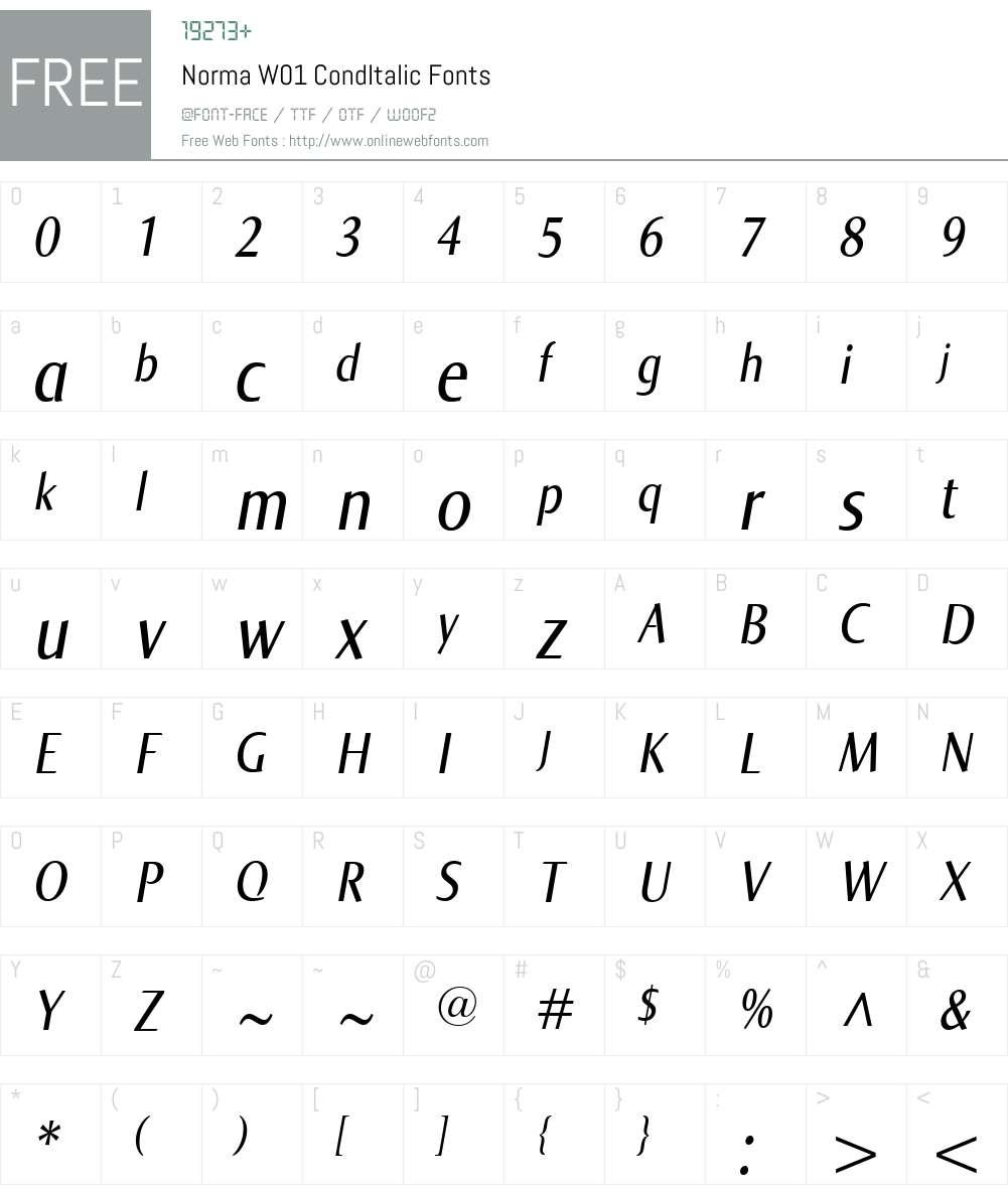 NormaW01-CondItalic Font Screenshots