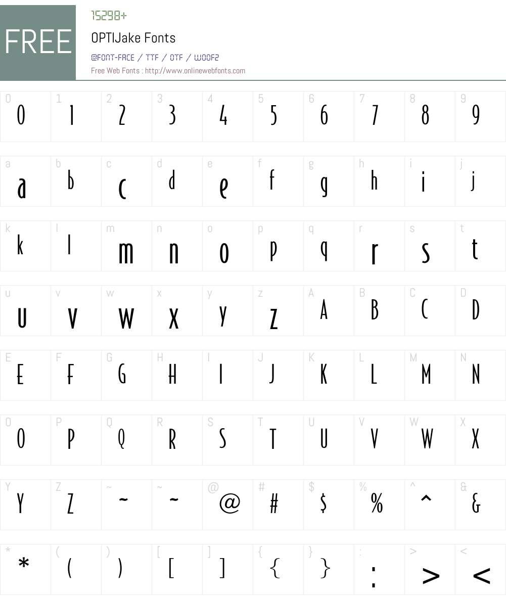 OPTIJake Font Screenshots