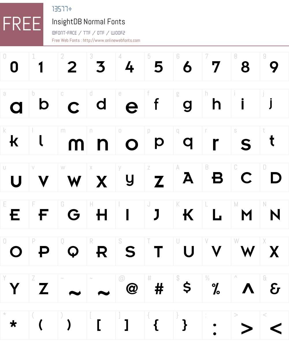 InsightDB Font Screenshots