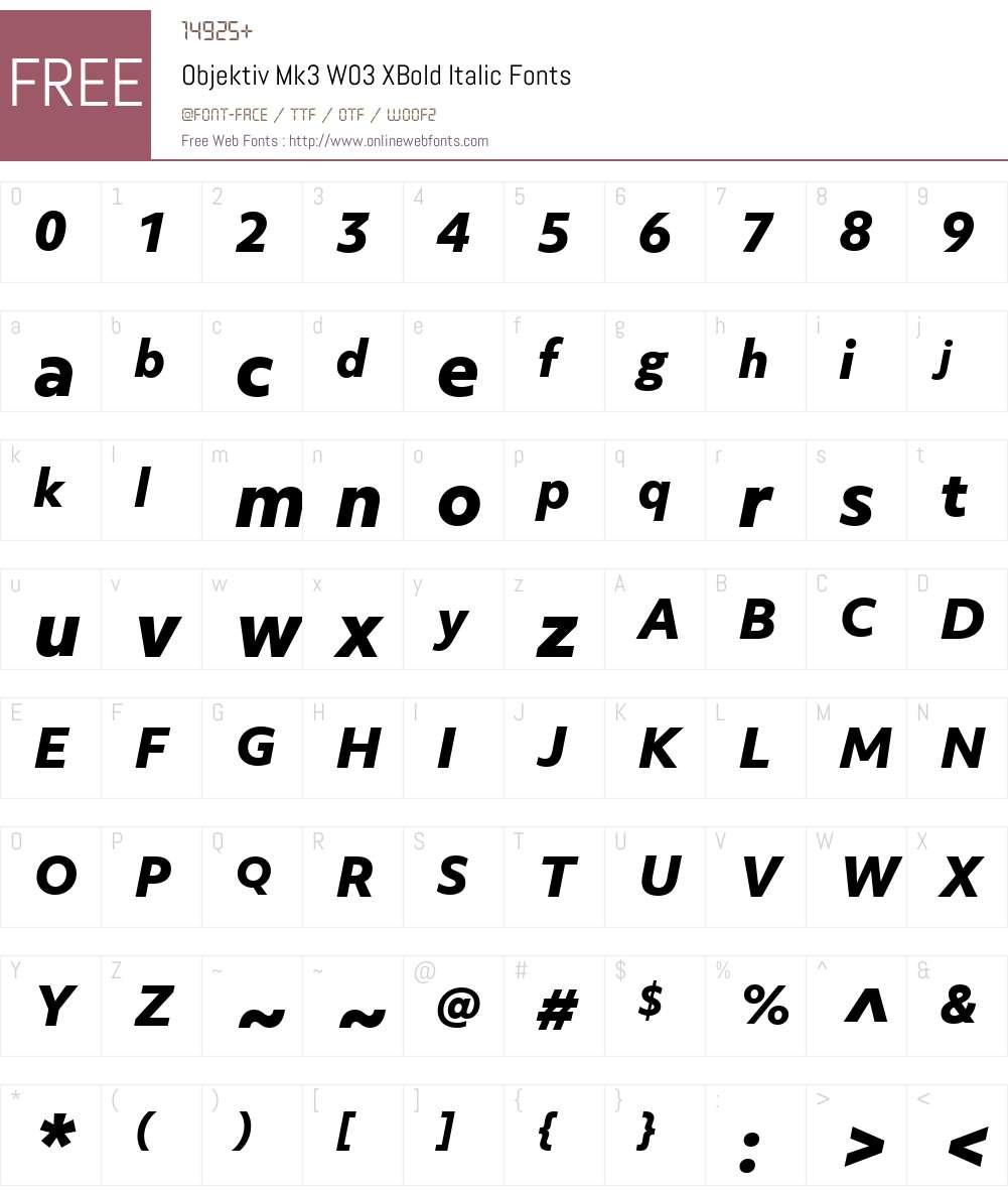 ObjektivMk3W03-XBoldItalic Font Screenshots