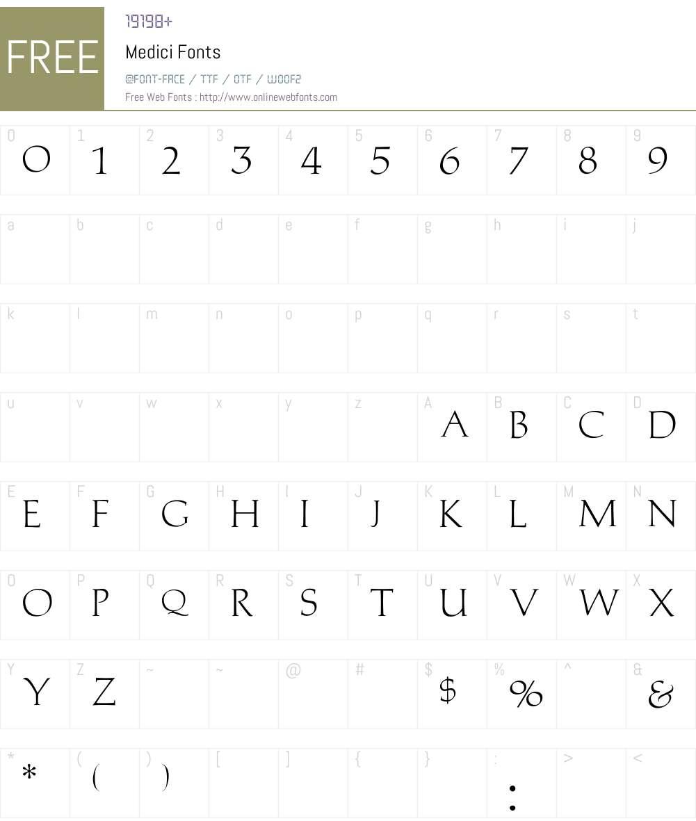Medici Font Screenshots