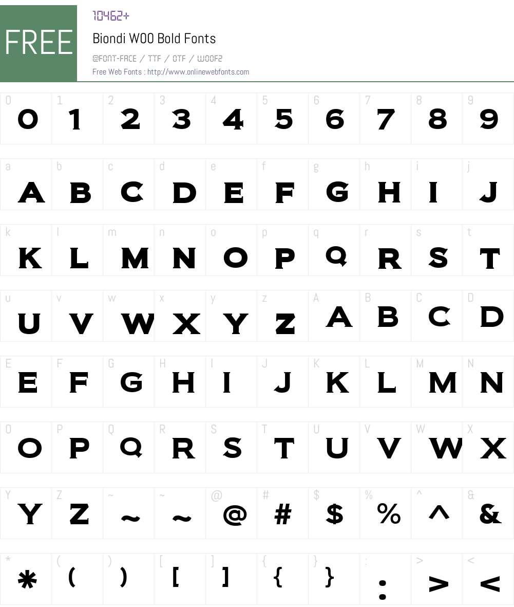 BiondiW00-Bold Font Screenshots