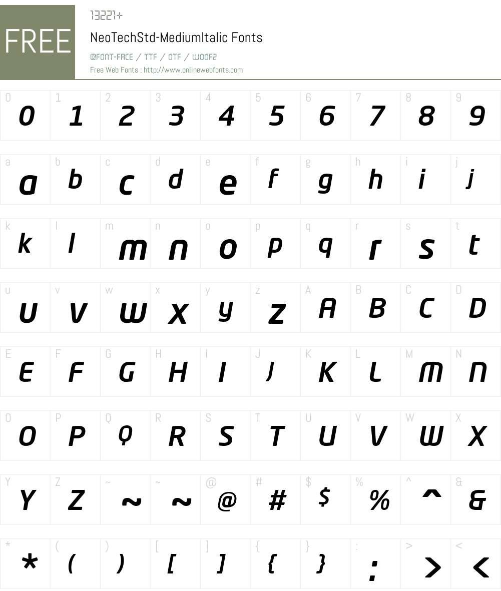 Neo Tech Std Medium Font Screenshots