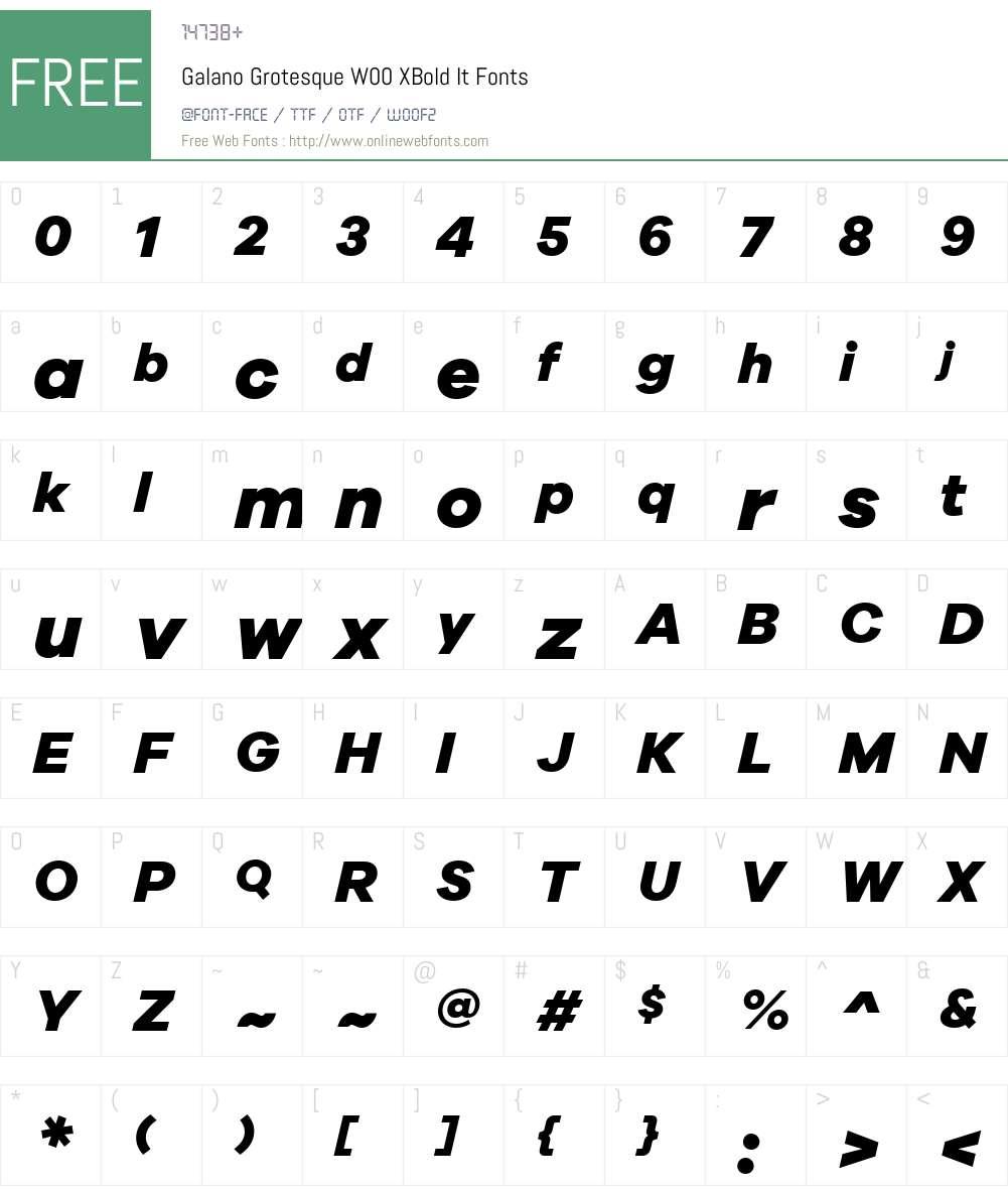 GalanoGrotesqueW00-XBoldIt Font Screenshots