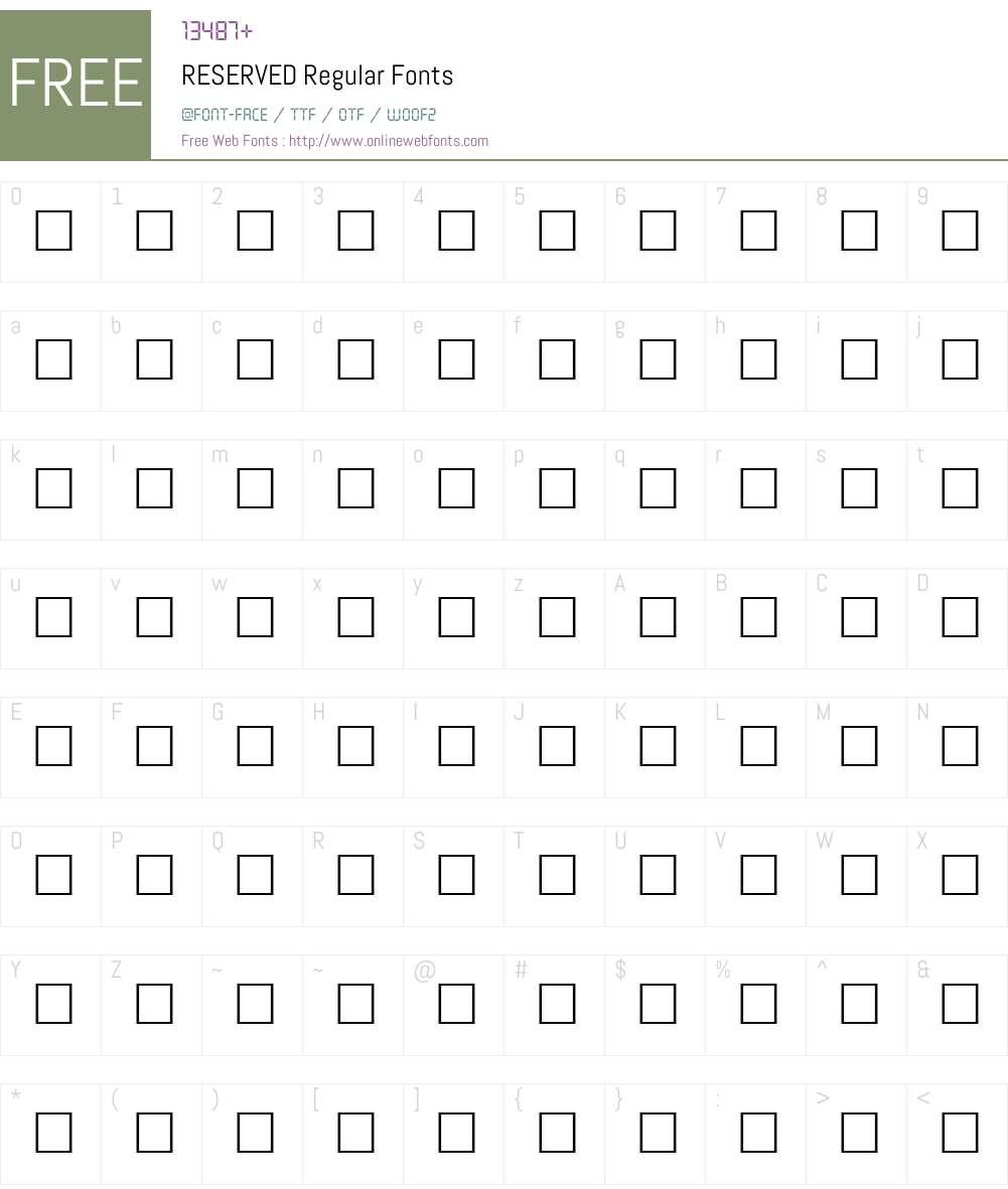 RESERVED Font Screenshots